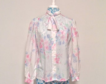 vintage floral blouse // 1980s purple pink green puffed sleeves // 80s pastels ascot tie neck