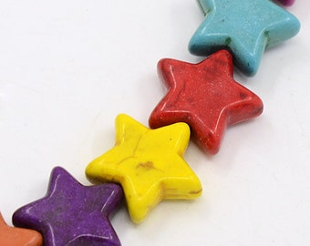 Star Howlite Beads - Multicolor - 15mm - Sold per strand - #TURQ257