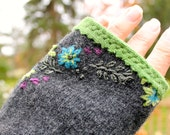 Upcycled cashmere and wool fingerless gloves -- charcoal grey with embroidered purple, blue, green.  Lined in kelly green 100% cashmere.
