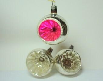 "Three Vintage Mercury Glass  Indent 1 1/2""  Christmas Tree Ornaments"
