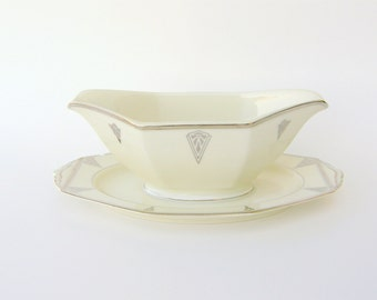 Art Deco Gravy Boat, Deauville by Community China - 1931 Ivory Bavarian Porcelain w/ Platinum Chevrons, Vintage Wedding China