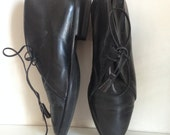 Joan & David Black Leather Ankle Boots with Leather Laces size 7