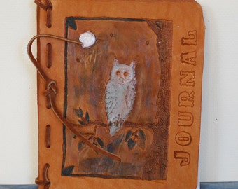 Wise Owl Leather Journal, Blank Book, Diary