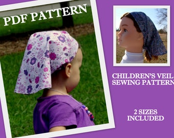CHILDREN'S Head Scarf Pattern PDF Hair Scarf Kerchief Pattern Long Head cover Veil Headcovering Sewing Hair Covering