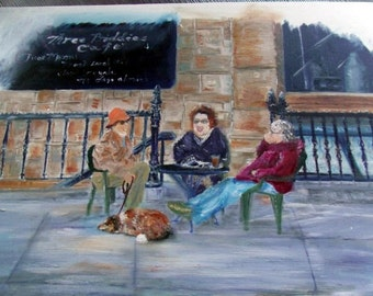 Art Original Oil Characters Women Dog Cafe Scene Biddies Stone Building