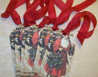 Christmas Tags Santa Tags Old World Santa Tags Vintage Style Christmas Tags - Set of 6
