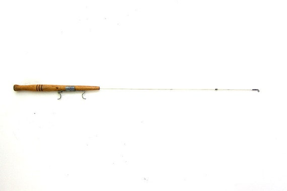 20 off sale vintage wooden ice fishing pole for Wooden fishing pole