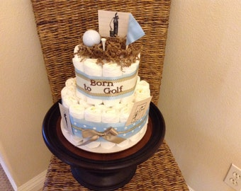 Golf diaper cake baby shower gift centerpiece born to golf