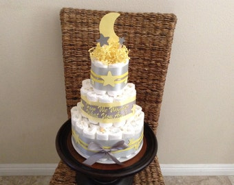 twinkle twinkle little star Moon and Stars Whimsical Diaper Cake Baby Shower Centerpiece Three tier other toppers and colors prices too
