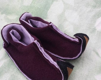 S Elf slippers womens small upcycled wool and leather