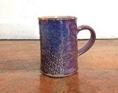 Deep Indigo Purple Ceramic Mug. Purple Mug with olive green.