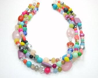 Colorful Multi Gemstone Necklace - Triple Strand Beaded - Statement Bib Necklace