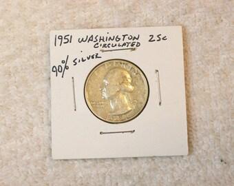 Washington Quarter 1951 / 90 % Silver US Coin / Circulated