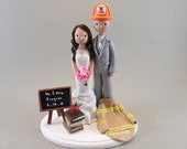 Firefighter & Teacher Custom Made Wedding Cake Topper