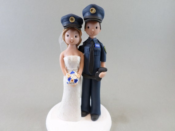 police officer wedding cake topper custom handmade wedding cake topper 18672