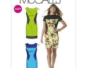 Contrast Dress Sewing Pattern - Womens Dress Pattern - McCalls 6278 - M6278 Pattern - Uncut, Factory Folded
