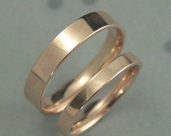 Comfort Fit Bands Gold Wedding Band Set Flat With