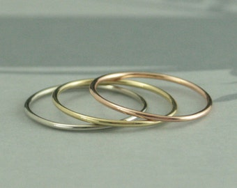 10K Gold 1mm Full Round Bands--Set of Three Tri Color Stacking Rings--Solid Gold Stacking Rings--Set of ALL Three--18 Gauge Round Bands