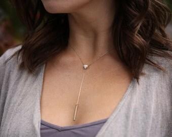 Opal Trillion Lariat Necklace