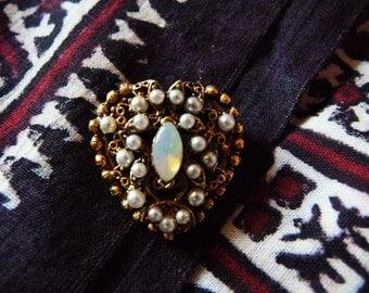 Vintage Florenza Etruscan Revival Moonstone Heart Brooch