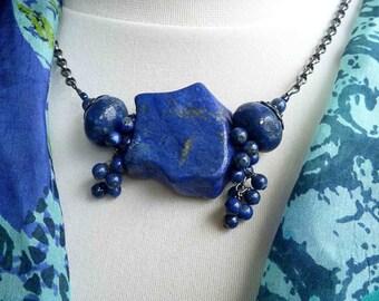 vintage lapis chunk necklace black chain short necklace
