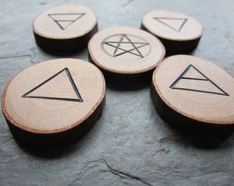Natural Wood Element Symbols - Beech - Portable Pocket Altar.