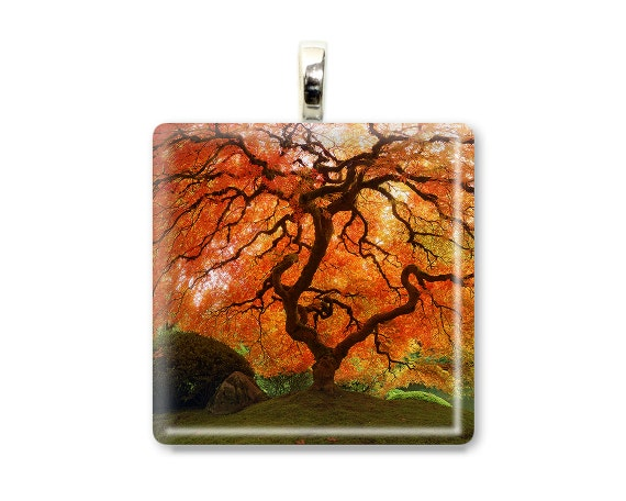 "Japanese Maple Tree Pendant Photo Jewelry ""Autumn Zen"" Autumn Fall Red Orange Leaves Nature Photo Necklace - Glass Tile Photo Pendant"