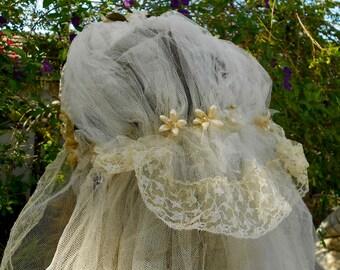 1920's Ivory Wax Floral Net Bridal Veil