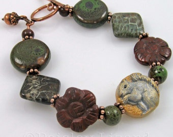 Squirrel and Acorn Bracelet, mixed gemstone beads and copper charm in fall colors, Handmade Nature Jewelry