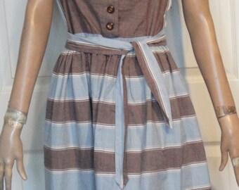 Vintage 50's Brown Blue Cotton Sleeveless Debbie Lind Day Dress B38 Side Zipper