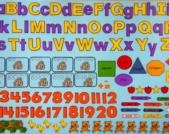 Basic Learning Skills.  Felt Board Alphabet.  Letters and Numbers.