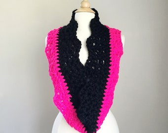 Pink crochet cowl, pink crochet scarf, pink and black, hot pink scarf, crochet infinity scarf, crochet endless scarf, pink infinity scarf