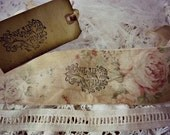 LAST ONE!!! Fairytale Time - David Austin Rose Pattern handmade distressed ribbon with 53 inches of Vintage Lace