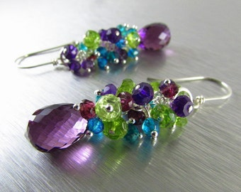 25 OFF Colorful Gemstone Earrings - Peridot, Amethyst, Garnet and Quartz With Sterling Silver