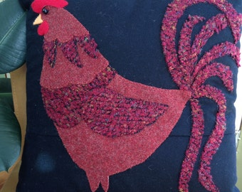 Red Rooster Pillow, Accent Pillow, Appliquéd Pillow, Rooster lover pillow