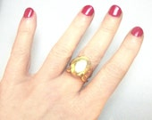Unique Statement Ring Gold  Ring Gold Vegan Leather Cabochon Ring Cocktail Ring For Women Adjustable Ring Gift For Her Under 30