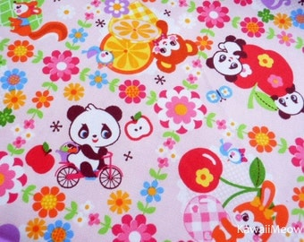 Kawaii Japanese Fabric - Pandas Animals Fruit on Pink - Half Yard - (ha141107)
