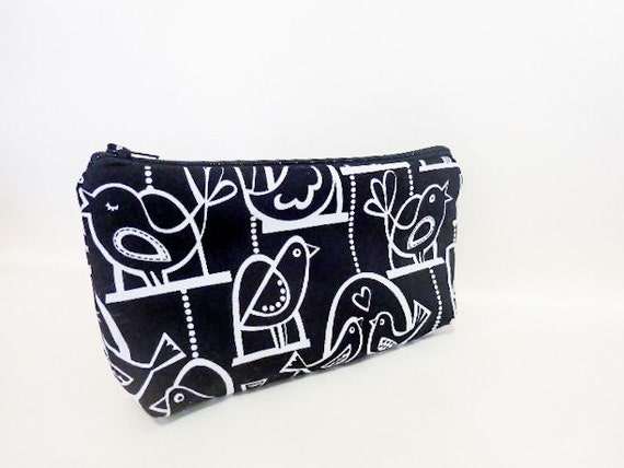 Cotton Zipper Pouch  Medium Pouch Cosmetic Bag Pencil Case - Black Bird Swing