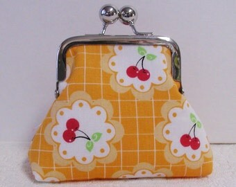 Metal Frame Coin Purse, Small Frame Purse, Small Coin Purse, Small Change Purse.. Cherry Fizz in Yellow