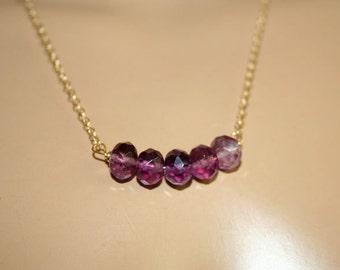Purple Fluorite gold necklace Handmade 14K gold fill chain Purple Fluorite Dainty necklace