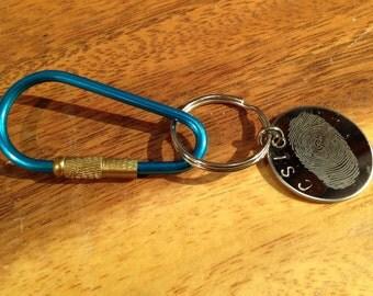 Keychain Custom Fingerprint handprint Engraved forensics CSI memory keepsake custom Design Key chain