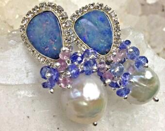 Black Opal Earrings, Australian Lightning Ridge Earring, Diamond Look, White Baroque Pearl, Tanzanite Cluster Earring