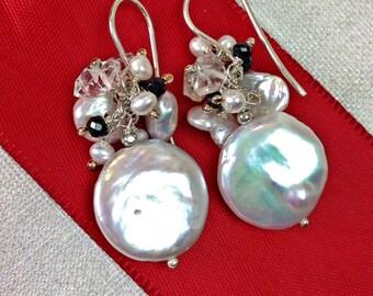 Coin Pearl Earring Black White Cluster Black Spinel Herkimer Diamond Quartz Gemstones Sterling Silver Wedding Earrings Mother of the Bride