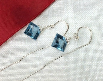 Blue Earrings, Blue Threader Earrings, Blue Quartz Sterling Chain Earrings, Wire Wrapped Gemstone, Minimalist Jewelry, Gift for Her