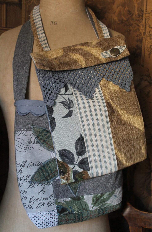 Vintage fabric prairie keepsake sack bag french blue linen