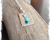 Silver Hammered Necklace - Small Turquoise Pendant - Small Sterling Silver Necklace - Silver Handmade Jewelry - Minimalist Silver Jewelry
