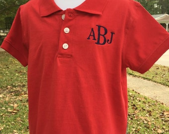Monogrammed Boys Polo - Multiple Colors Available
