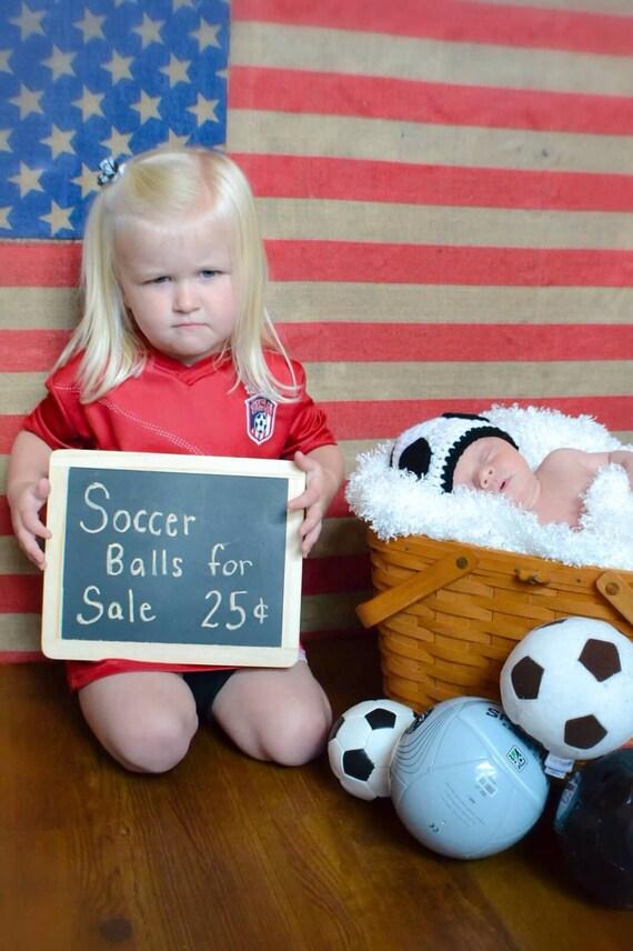Soccer Beanie, Crochet Soccer Hat, Crochet Beanie, Newborn, Infant, THE LITTLE GOALIE Baby Hat (Ready to Ship)