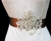 Wedding Brown Sash Belt Pearl Beaded Ivory Champagne Bridal Applique Gold Sashes