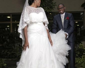 Private Listing Ivory Lace Bridal Cape Shawl Lace Shrug Wedding Wrap Jewel Neckline with Scalloped Edge